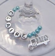 School Bus Personalised Wine Glass Charm
